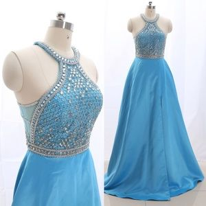 Dresses & Skirts - Halter Blue Prom Pageant Gown Formal Evening Gown